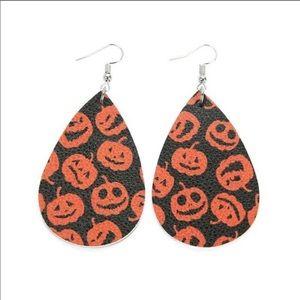 Jack O Lantern faux leather teardrop earrings